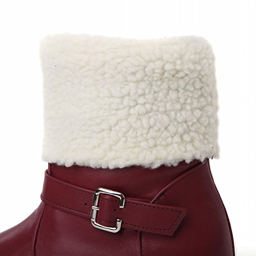 Carol Shoes Womens Warm Buckle Cold-weather Winter Use Comfort Chunky Snow Boots Tacco Rosso
