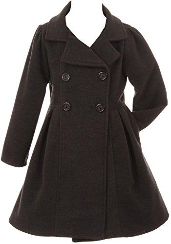 BluNight Collection Little Girls Dress Coat Long Sleeve Button Pocket Long Winter Coat Outerwear Charcoal 6 (2J0K4S9)