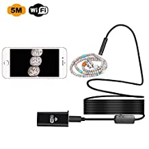 Zarsson Wireless Endoscope, WiFi Borescope Inspection Camera 2.0 Megapixels HD Snake Camera for Android and IOS Smartphone, iPhone, Samsung, Tablet, PC and Windows (16.4ft/5M)