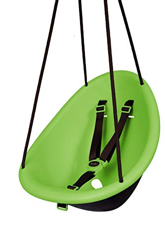 Swurfer Kiwi - Your Baby's First Swing with Ergonomic Foam-Lined Shell Design, Blister Free Rope and 3-Point Safety Harness, Ages 9 Months and Up (Green)
