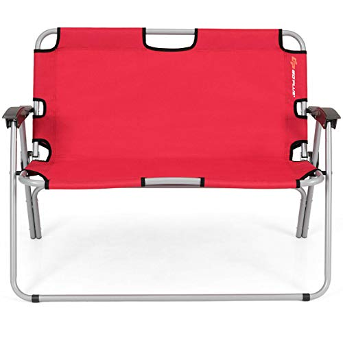 Allbest2you Folding Double Camping Bench Garden Backyard Loveseat Portable Outdoor Chair Red