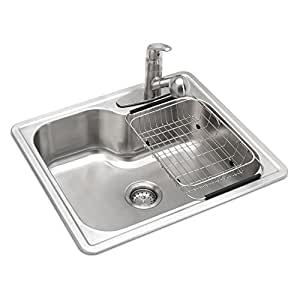 Glacier Bay All In One Top Mount Stainless Steel 25 In 3 Holes Single Bowl Kitchen Sink In
