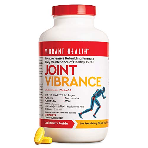 Vibrant Health - Joint Vibrance, Daily Support to Maintain and Repair Joint Health with Collagen, Glucosamine, and Chondroitin, Gluten Free, Dairy Free, Non-GMO, Orange Pineapple, 252 Count (FFP)