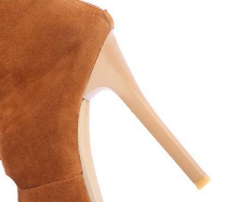 Sandalias de gladiadores Lace-Up10 cm de tacón de aguja Peep Toe casual femenino tubo de botas altas UE tamaño 34-43 Black