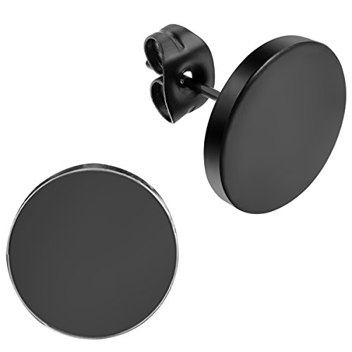 Flongo Men's Women's 12mm Round Stainless Steel Black Tunnel illusion Tapers Cheater Faux Fake Stud (12 Mm Round Earrings)