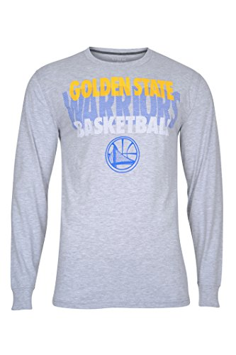 NBA Men's Golden State Warriors T-Shirt Supreme Long Sleeve Pullover Tee Shirt, Large, Gray