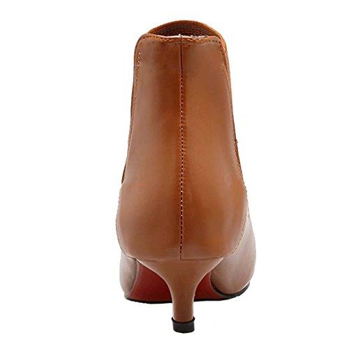 Brown Toe Ankle Kitten Autumn Winter Bootie Women's on Boots Slip Heel Pointed AIYOUMEI 7xaZqEv