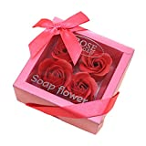 Lovewe 4pc Fower Petal Soap - Scented Bath Body Petal Rose Flower Soap For Valentine's Day Gift (H)