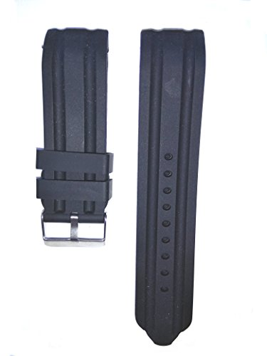 24mm Black Silicone Rubber Curved End Dive Watch Band Strap
