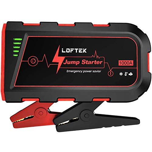 LOFTEK Portable Car Battery Jump Starter (Up to 7.0L Gas or 5.5L Diesel Engine), 12V Power Pack Auto Battery Booster with Built-in LED Light, Red