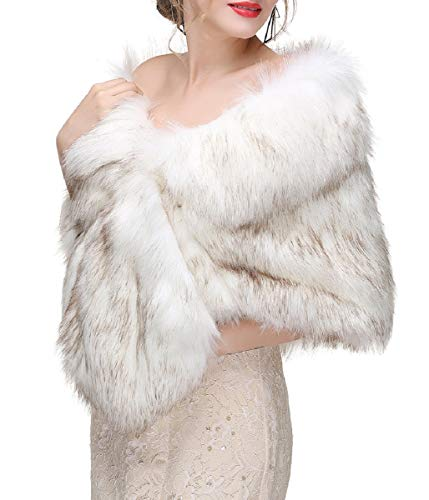 Decahome Wedding Faux Fur Wraps and Shawls Wedding Bridal Stole for Brides and Bridesmaids White/Brown Fox Fur