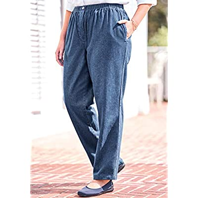 Woman Within Women's Plus Size Elastic-Waist Cotton Straight Leg Pant at Women's Clothing store