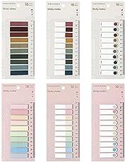 Gekleurde Index Sticky Notes, 6 Pack 1200 Stuks Pagina Markers Sticky Index Tabs met Liniaal Beschrijfbare en Herpositionable File Tabs Vlaggen, voor Kantoor-, Thuis- en Schoolbenodigdheden