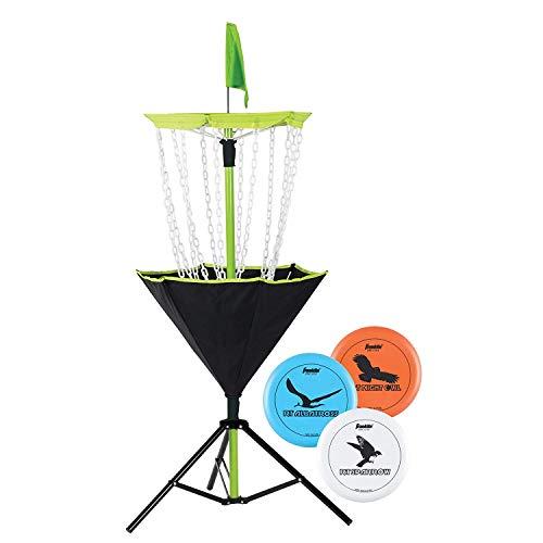 Franklin Sports Disc Golf Set - Disc Golf - Includes Disc Golf Basket, Three Golf Discs and Carrying Bag (Umbrellas Outdoor Target)