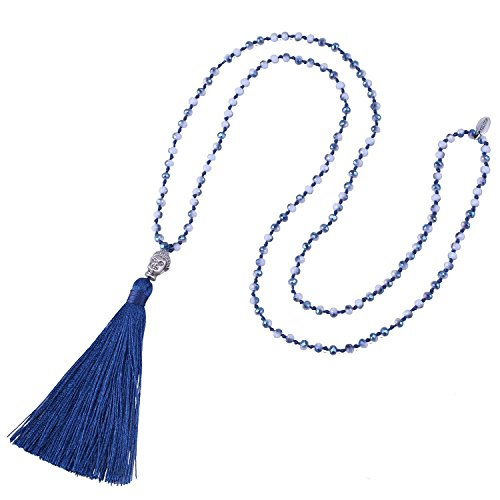 (Kelitch Jewelry Long Hand Knotted Crystal Beaded Buddha Head Blue Tassel)