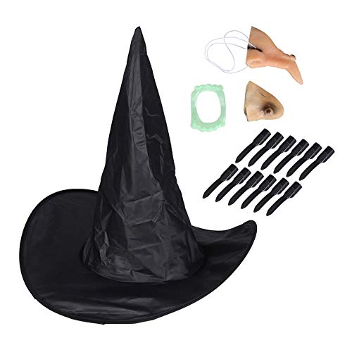 DecorFav 5Pcs Witch Wizard Kits Hat Jaw Nose Nail False Teeth for Halloween Play Cosplay Costume -