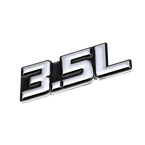 (UrMarketOutlet 3.5L Black/Chrome Aluminum Alloy Auto Trunk Door Fender Bumper Badge Decal Emblem Adhesive Tape Sticker)