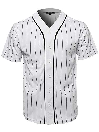 Baseball Pinstripe Jersey - Solid Hipster Baseball Team Pin Stripe Jersey Top White Black L