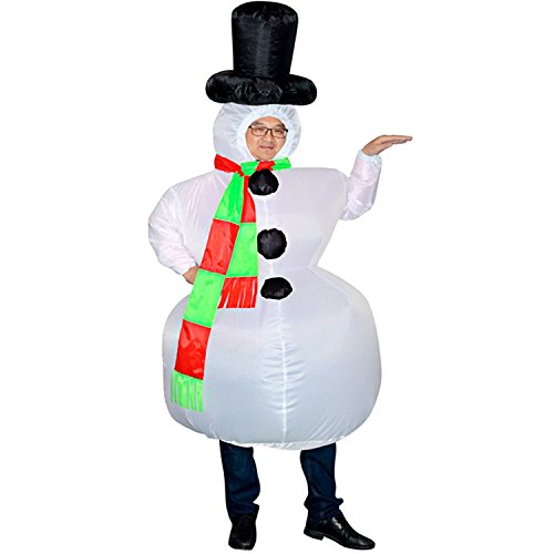 Wecloth Christmas Inflatable Snowman Cosplay Costume Party Fancy Dress Blow Up Body Suit Jumpsuit -