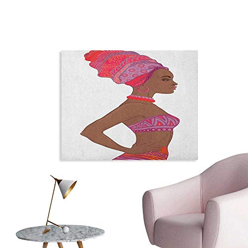 (Anzhutwelve African Woman Mural Decoration Beautiful Zulu Woman with Sexy Bandage Dress Necklace Female Art Poster Chocolate Purple Dark Coral W36 xL32)