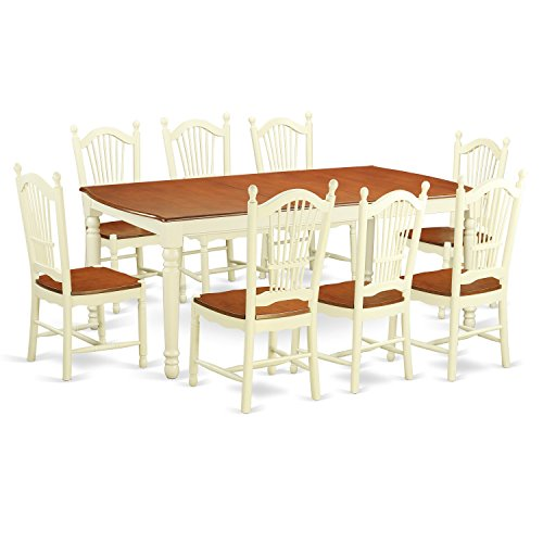 East West Furniture DOVE9-WHI-W 9 Piece Dinette Table and 8 Dining Room Chairs Kitchen Nook