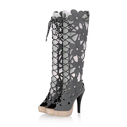 RFF-Spring, summer and autumn shoes in The Summer Before Europe and The Tether Strap Women's Cool Boots Ultra-high with Exposed Gray