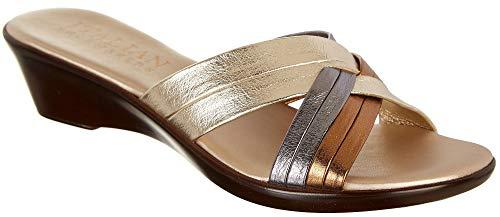 (ITALIAN Shoemakers Womens Abide Dress Sandals 8.5 Platinum Silver/Gold)