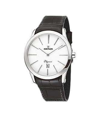 Kronos - Elegance Silver 973.105 -Reloj de caballero de cuarzo - correa de piel marrÓn - color esfera: plateada