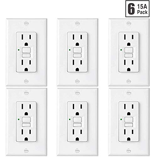 [6 Pack] BESTTEN Self-Test GFCI Outlet, Slim Series, 15-Amp GFI Receptacle with LED Indicator, Non-Tamper-Resistant Ground Fault Circuit Interrupter, Decorator Wall Plate Included, UL Listed, White