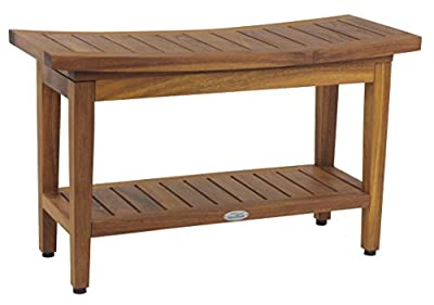 "Maluku 30"" Teak Shower Bench with Shelf"