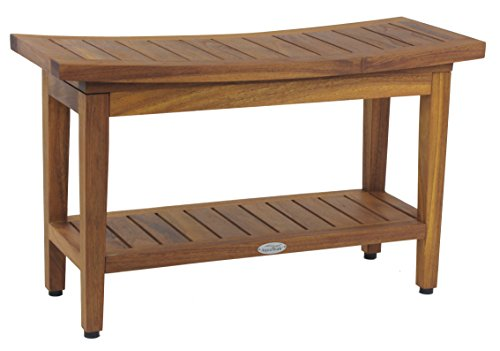 "AquaTeak Patented 30"" Maluku Teak Shower Bench with Shelf"