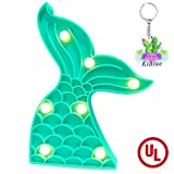 KiBlue Mermaid Tail Decor Light Mermaid Tail Party Decoration Cute Mermaid Table Lamp Battery Operated for Desk,Bedroom,Wall Decor,Baby Shower,Kids' Room,Holiday Decor,Home Decorations