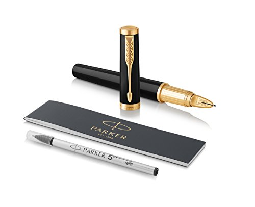 PARKER Ingenuity 5th Technology Large Pen, Black Lacquer with Gold Trim, Medium Point with Black Ink Refill by Parker