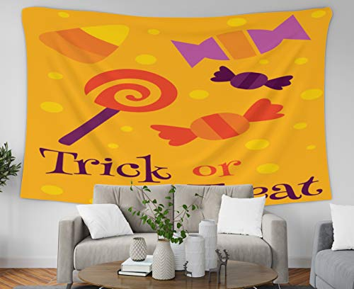 Musesh Art and Gold Natural Luxury Gouache Wall Tapestry Hanging, 60x50 Tapestry,Halloween Greetings Trick Or Treat,Tapestries Wall Hanging for Bedroom Living Room Decor Inhouse -