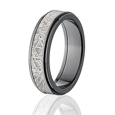 6mm Black Meteorite Wedding Band Meteorite Rings w Comfort Fit