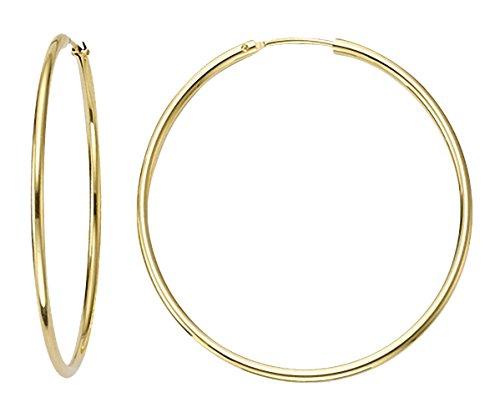 Boucles d'oreilles, Créoles or jaune 585/14K, diamètre extérieur 30mm, largeur 1,8mm, poids: env. 1.2g, produit neuf