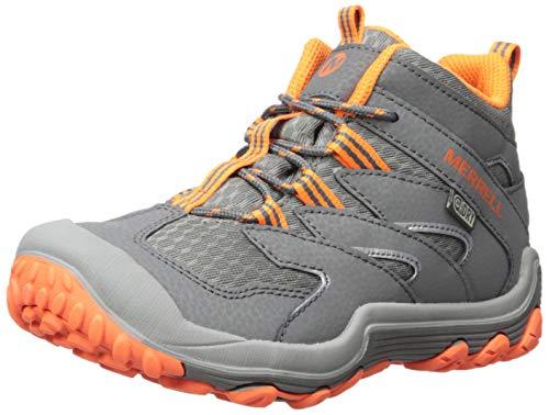 (Merrell Boys' Chameleon 7 Mid WTRPF Hiking Shoe, Grey/Orange, 11.5 Medium US Little)