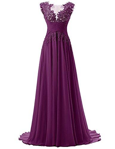 Abschlussball BrautbrautjunferKleid Damen Chiffon Mit Traube Kleid Applikation Langes Beonddress Evaq0q7