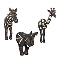 Safari Zebra Elephant Giraffe Wall Hooks Set of 3 Bohemian Eclectic Whimsical Animal for Coats Kitchen Bathroom Towels