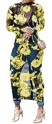 Sheer Long Stretch Maxi Dress Sleeve Yellow Mesh See Through Cromoncent Womens fwSOq1