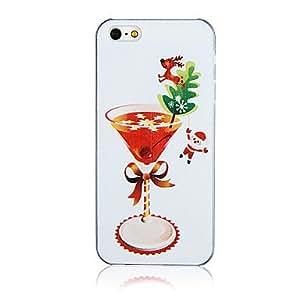 TY-Patrón de cristal de la Navidad de plástico de nuevo caso de iPhone 5/5S