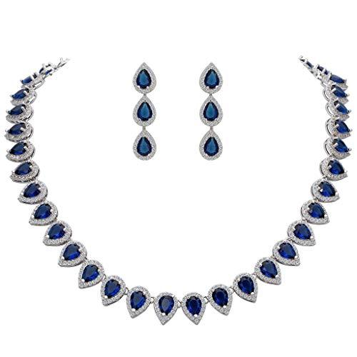 Cubic Sapphire Zirconia Jewelry (EleQueen Women's Silver-Tone Full Prong Cubic Zirconia Teardrop Bridal Necklace Earrings Set Sapphire Color)