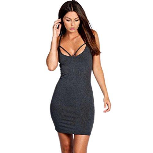 Mini Dress , Teresamoon Womens Cocktail Sleeveless Dress (S, Dark Gray)