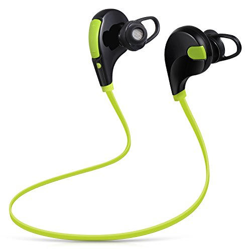 Redlink Sports Wireless Headphones, Sweatproof, In-ear Stereo Earbuds, Premium Sound with Bass, Noise Cancelling for iPhone/iPad /iPod and Android Devices with Mic (Green)