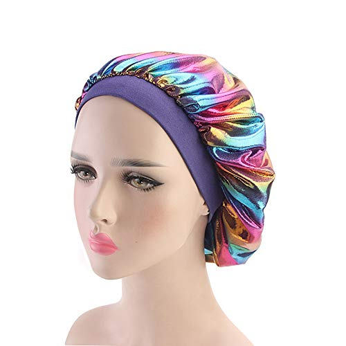 (Holographic Satin Nightcap Wide Band Sleep Cap Bonnet Hat for Frizzy Natural Hair Curly Hair Loss Purple)