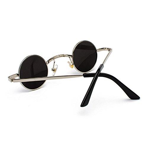 policarbonato de Gafas sol Gafas de Azul metal Marco redondas pequeñas Lente Inlefen de unisex v6xB4g
