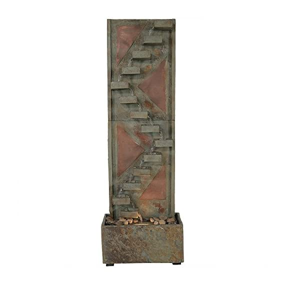 Sunnydaze Descending Staircase Slate Outdoor Water Fountain - Large Garden & Backyard Waterfall Fountain Feature with Copper Accents & LED Light - 48 Inch Tall - LARGE & STURDY STRUCTURE: Large outdoor water fountain weighs 82.2 pounds, so it won't tip over easily outside in the wind, and measures 16 inches wide x 8 inches deep x 48 inches tall SOOTHING WATER SOUNDS: Sit back, relax, and enjoy the soothing and peaceful sounds this outdoor fountain produces as water gently trickles down the descending staircase design on the garden fountain and recirculates back up BEAUTIFUL & ATTRACTIVE DESIGN: Patio water fountain is made from natural slate material with copper accents to highlight and bring beauty to your outdoor space; The copper face of the backyard water fountain will take on an appealing patina finish over time - patio, outdoor-decor, fountains - 412csSCPatL. SS570  -