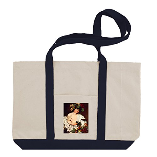 Bacchus (Caravaggio) Cotton Canvas Boat Tote Bag Tote - - Bacchus Canvas