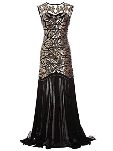 Lungo Abito Flapper Donna Paillettes Cocktail 20 Sera Anni Falda Vestito Gold Senza Dress 1920s Ohlees Maxi Maniche f0qRFxBXww