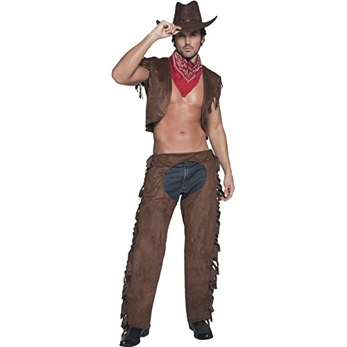 Sexy Men Halloween (Smiffy's Men's Fever Male Ride Em High Cowboy Costume, Waistcoat, Chaps and Scarf, Western, Fever, Size M, 34105)